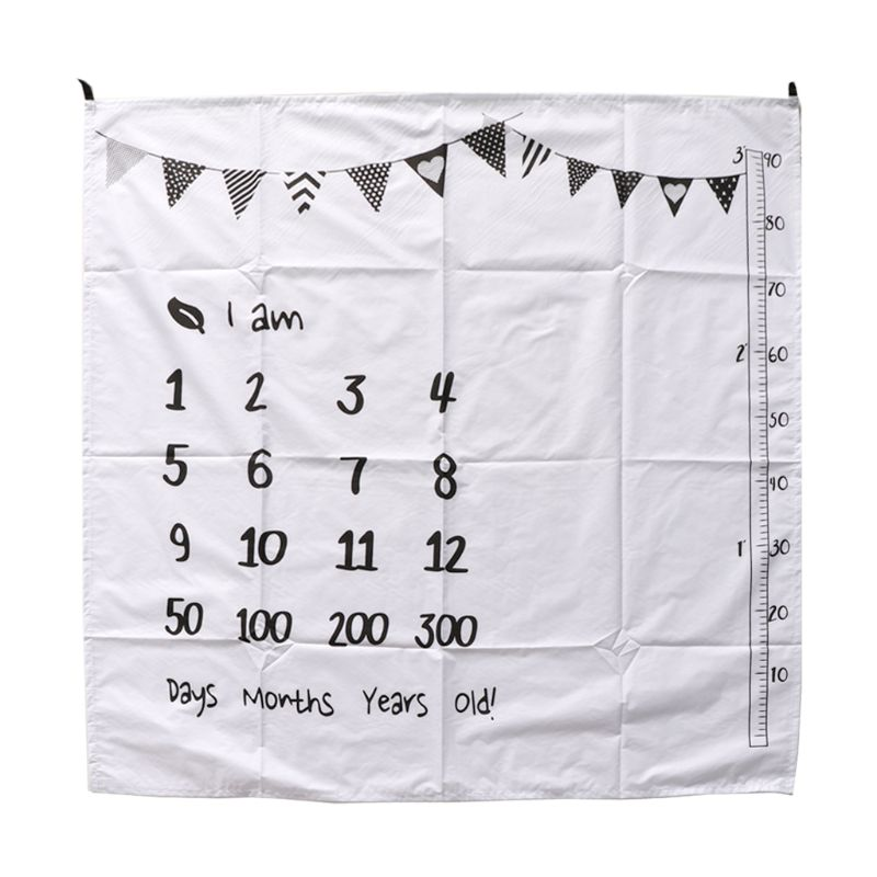 100x100cm Baby Milestone Blankets Muslin Newborn Photography Background Props Infant Swaddle Wrap Bed Quilt Kids Bath Towel