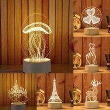 3D Festival USB Acryl Nacht Licht Anhänger LED Tisch Schreibtisch Schlafzimmer Decor Desktop Lampen Geschenk Warme Weiße Lampe Weihnachten Neue jahr