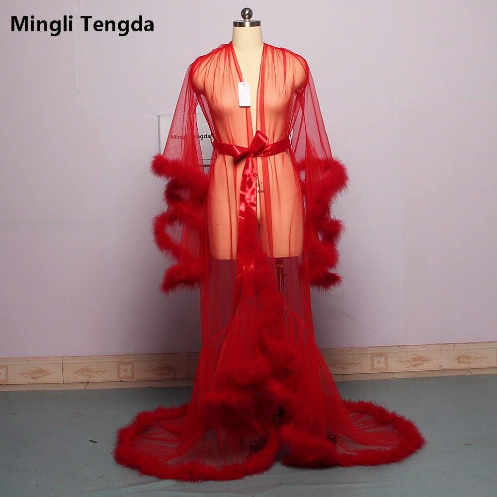 Mingli Tengda bata de novia Pluma púrpura bata de novia pura ilusión de tul largo para fiesta de boda bata de plumas capa de disfraz