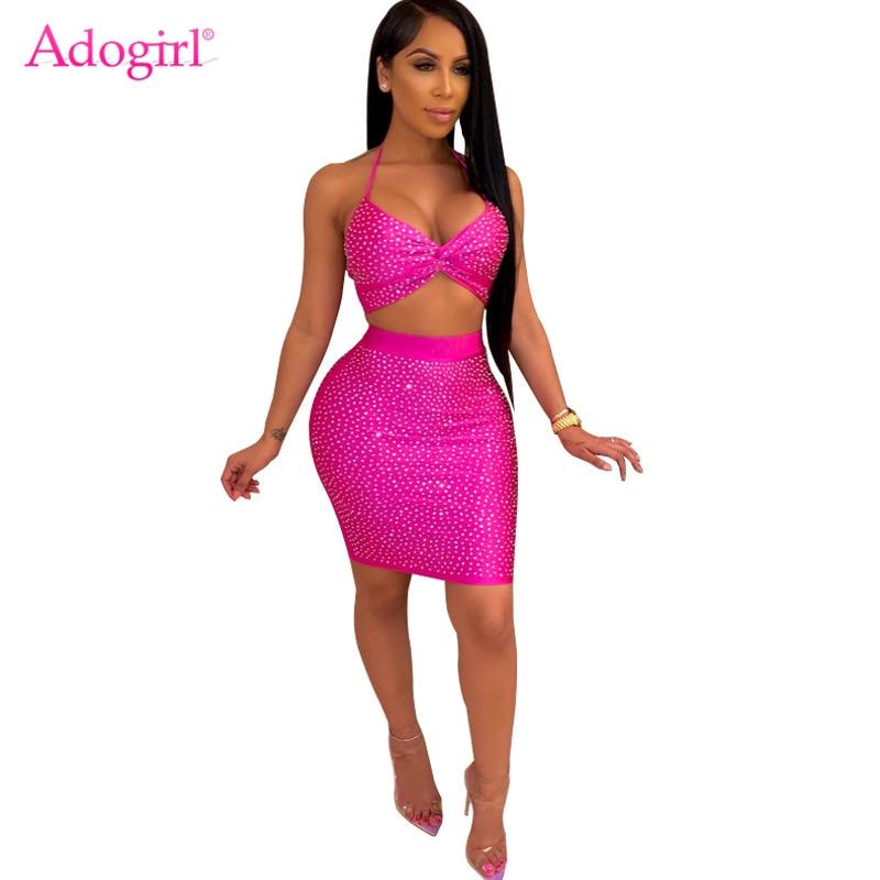 Adogirl Diamonds Women Sexy Two Piece Set Dress Halter Bra Top High Waist Mini Bodycon Skirt Night Club Party Dresses Outfits