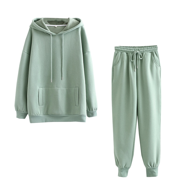 Tangada 2020 Autumn Winter Women tracksuit thick fleece 100% cotton suit 2 pieces sets hoodies sweatshirt and pants suits 6L17