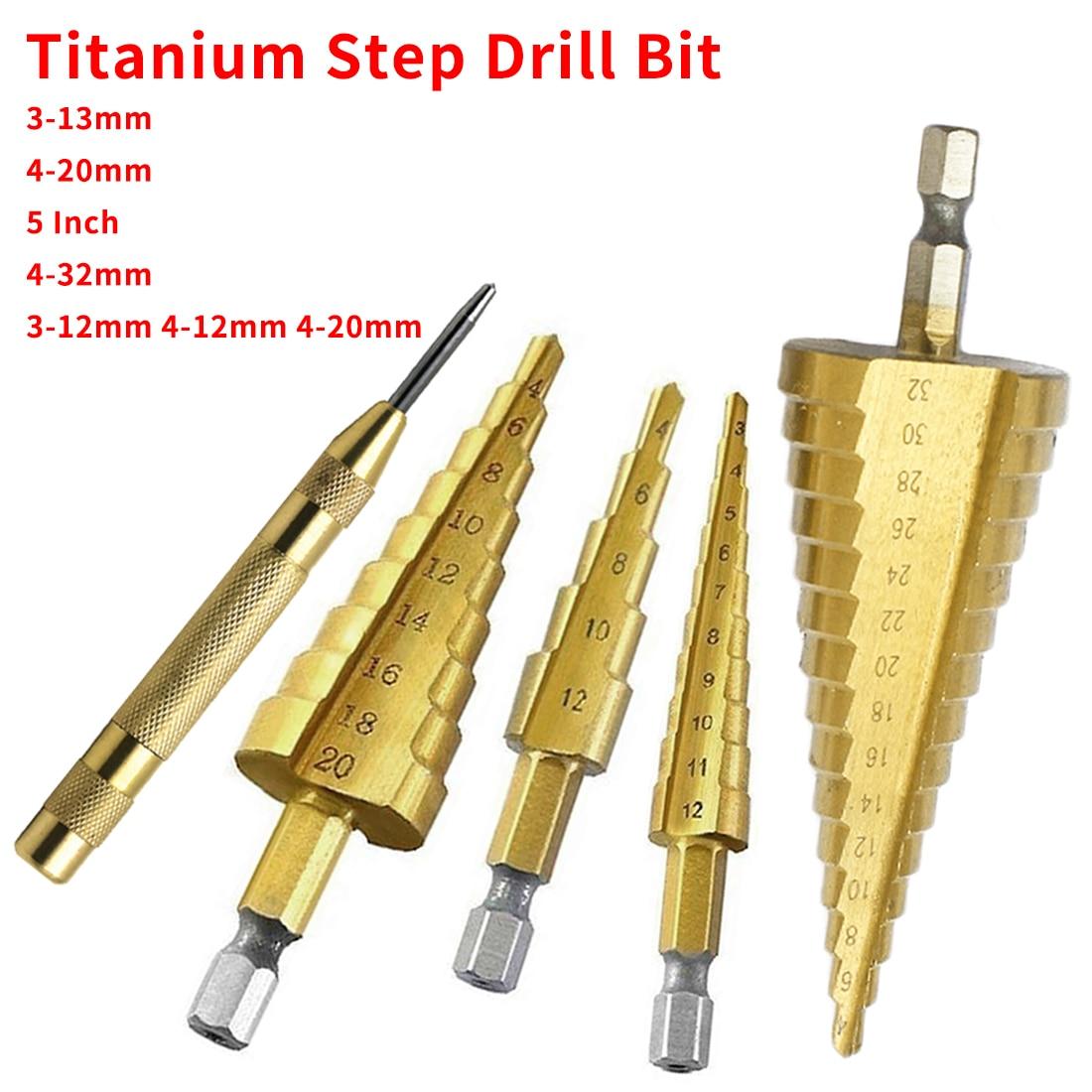 HSS Steel Titanium Step Drill Bit 3-12mm 4-12mm 4-20mm Step Cone Cutt Tools Metal Drill Bit Set for Woodworking Wood