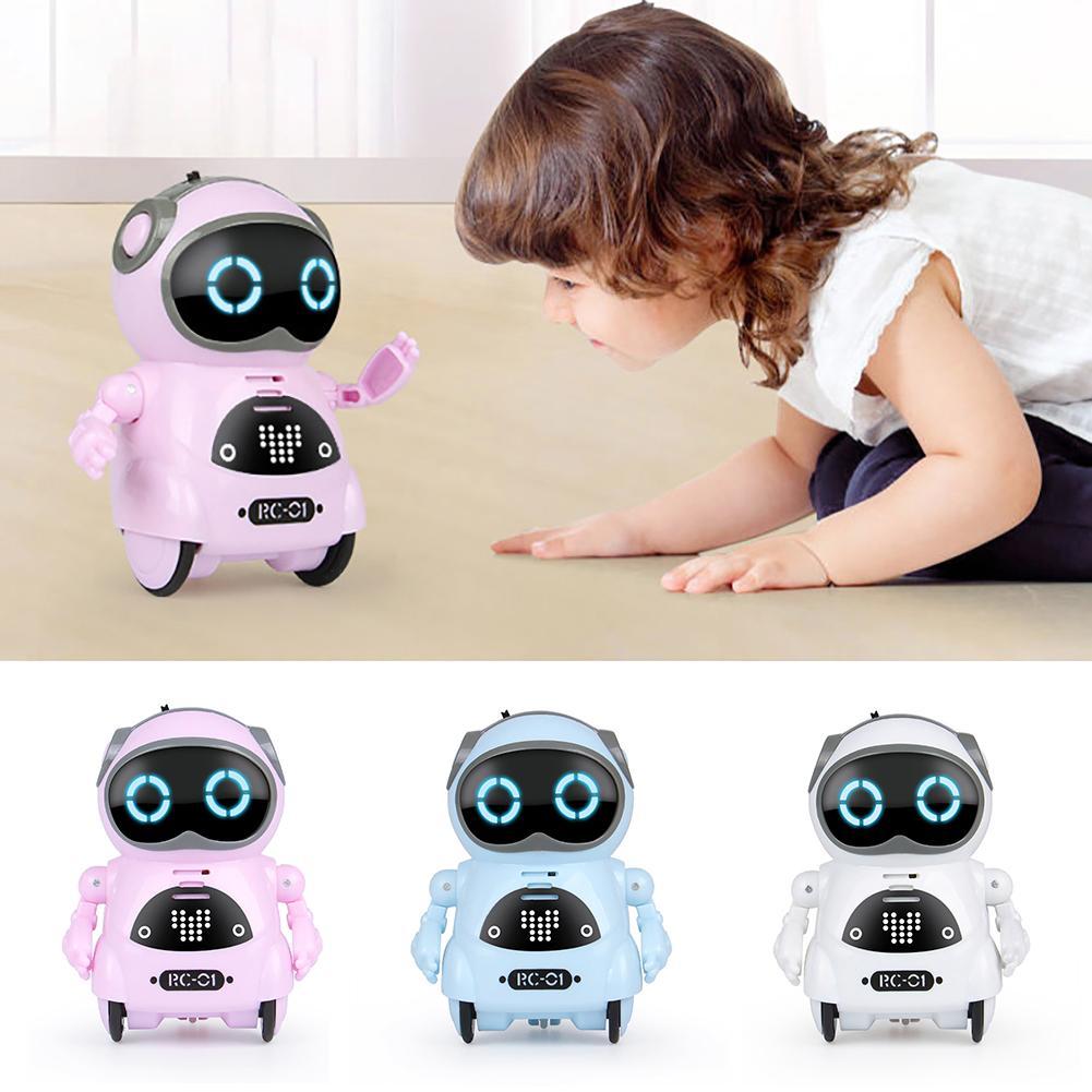Mini kieszeń Robot sterowanie głosem czat nagrywanie śpiewać taniec interaktywne zabawki dla dzieci