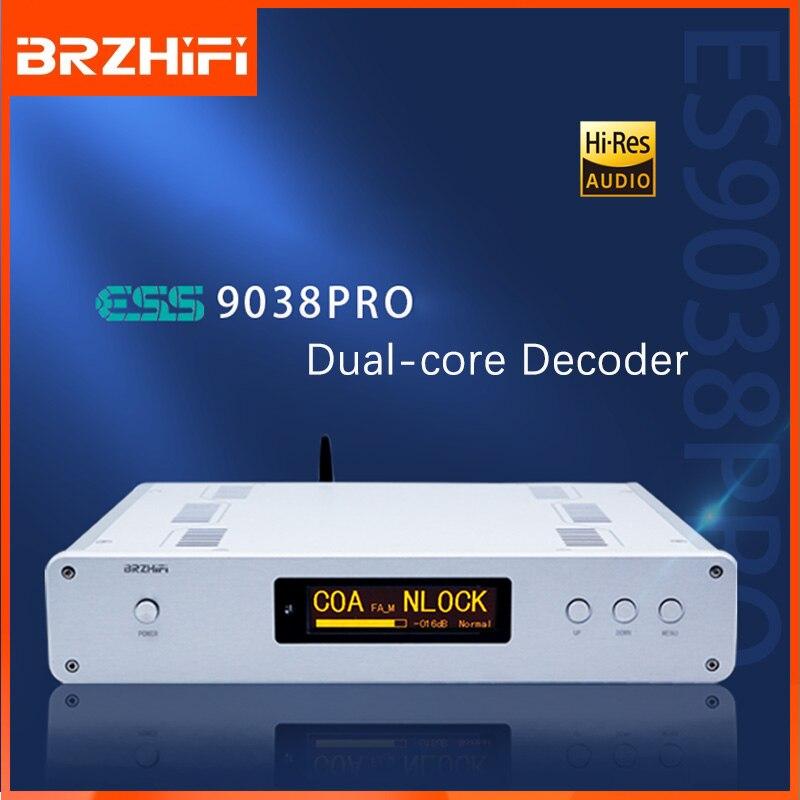 BRZHIFI جهاز فك الترميز المتوازن الصوت DAC مزدوج ES9038PRO DSD512 32Bit 384KHz بلوتوث 5.0 LDAC فك التشفير Amanero USB RCA XLR الإخراج