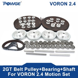 POWGE VORON 2,4 Set GT2 LL-2GT RF Offenen Zahnriemen 2GT 16T 80T 20T Zahn Pulley 188-2GT welle Lager 625 F695 2RS Motion Teile