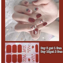 1 Sheet Glitter Color Nail Wraps Nail Stickers Full Cover Nail Stripe Manicure for Women Nail Art St