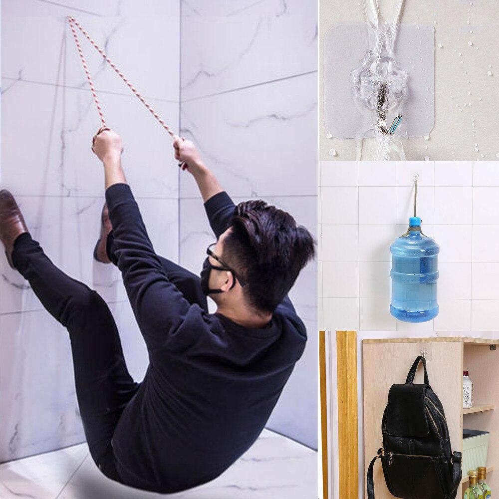 Colgadores de pared de puerta autoadhesivos transparentes fuertes de 6 uds ventosa ganchos de pared colgador para cocina accesorios de baño # DQ