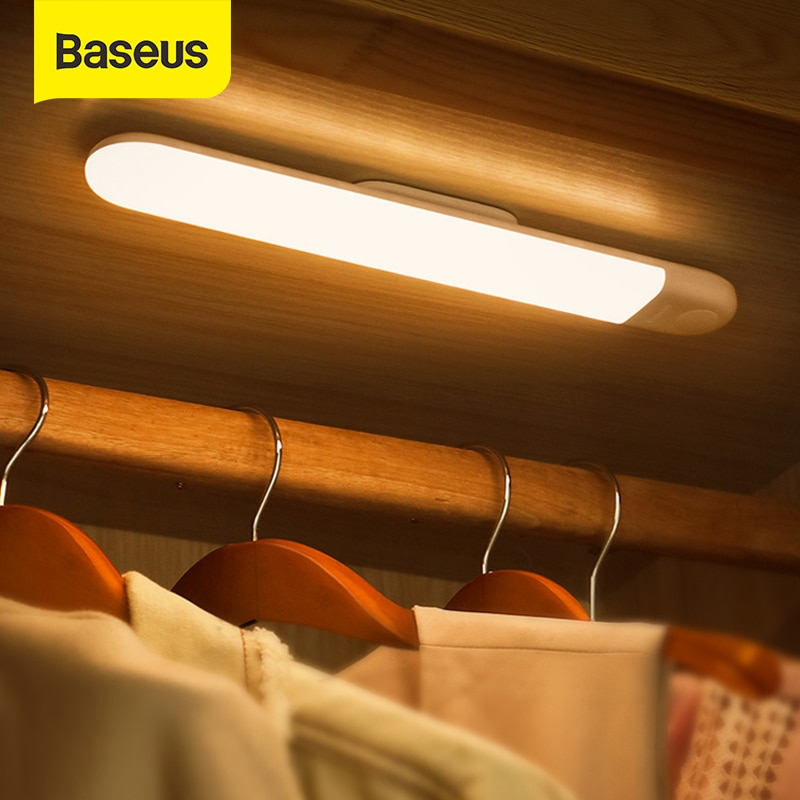 Baseus-مصباح PIR LED مع مستشعر حركة ، ضوء ليلي قابل لإعادة الشحن لخزانة الملابس والمطبخ وغرفة النوم