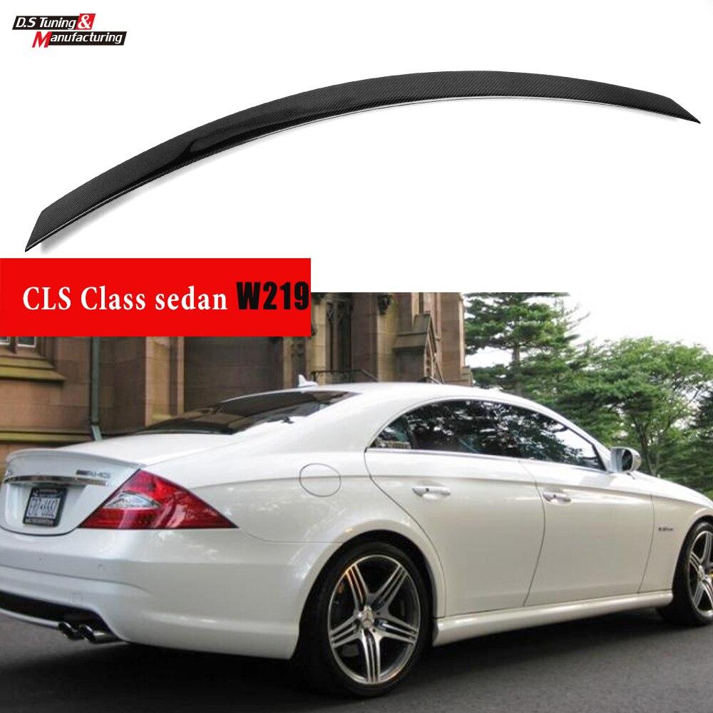 Cls63 estilo fibra de carbono cf spoiler traseiro para cls classe w219 (2004 - 2011) acabamento de alto brilho uv-corte