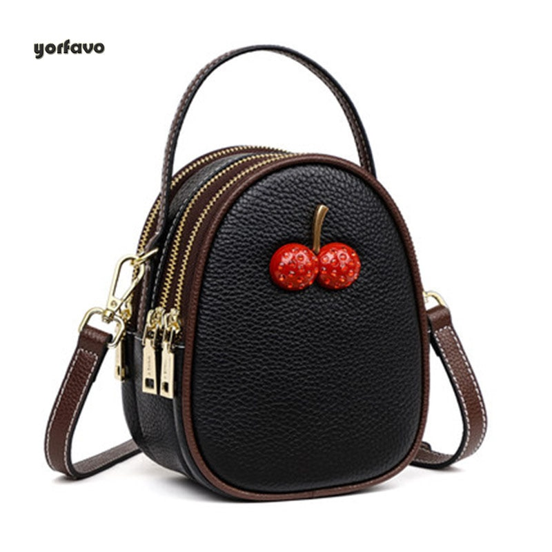 Genuine Leather Shoulder bag women totes handbag for female Sling Fashion Cherry Messenger Saddle Bag with 3 layers big capacity