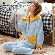 Vêtements de nuit dautomne femmes hiver corail velours à manches longues Femme Pyjama ensembles épais chaud Sexy pyjamas filles Pyjama Femme Homewear