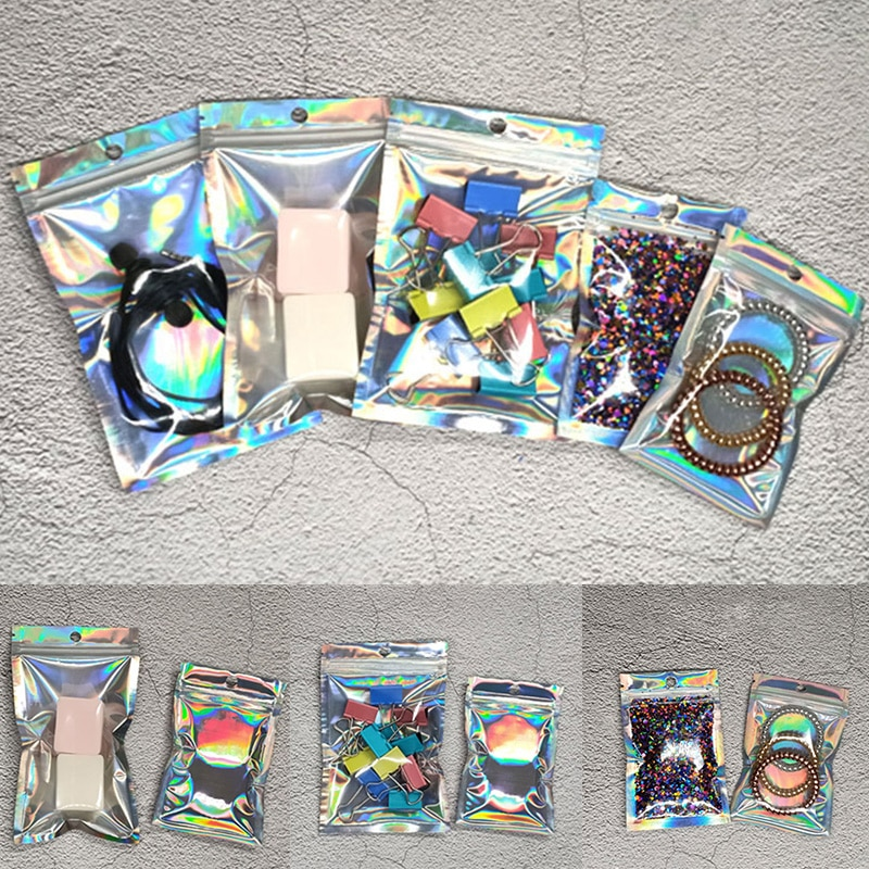 50pcs PE Plastic Ziplock Bag Pouch Mylar Bags Foil Resealable Smell Proof Packing Storage
