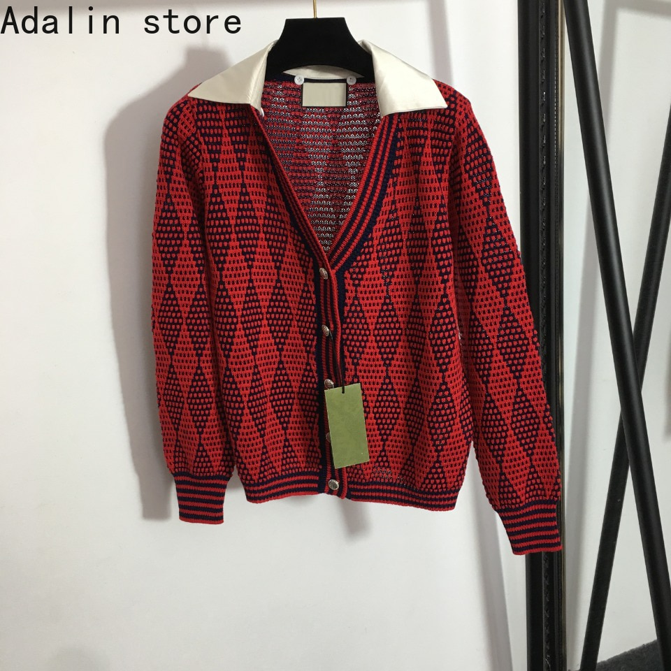 2021 high quality autumn and winter new fashion women's Lapel splicing rhombic check V-Neck long sleeve coat knitted cardigan enlarge