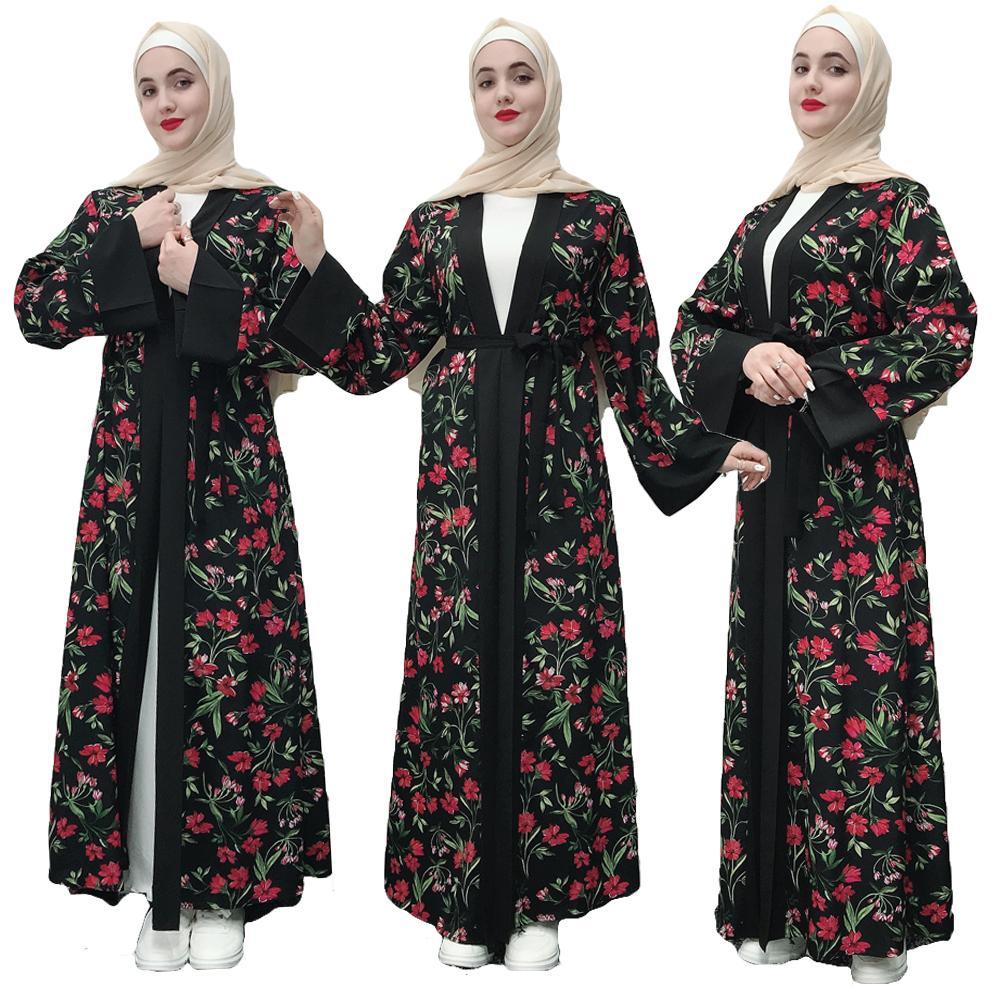 Floral Abaya Dubai mujer Maxi vestido Kimono abierto Jilbab Kaftan vestido largo fiesta vestido Ramadan islámico ropa Medio Oriente