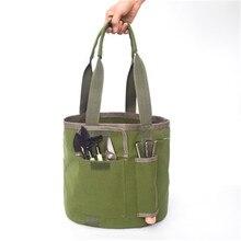 Nuevo estilo impermeable de lona verde portátil jardín herramienta cubo bolsa depósito de herramientas de jardín bolsa Durable