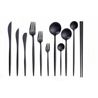 matte black tableware stainless steel cutlery set forks knives spoons chopsticks cutlery set complete black dinnerware set