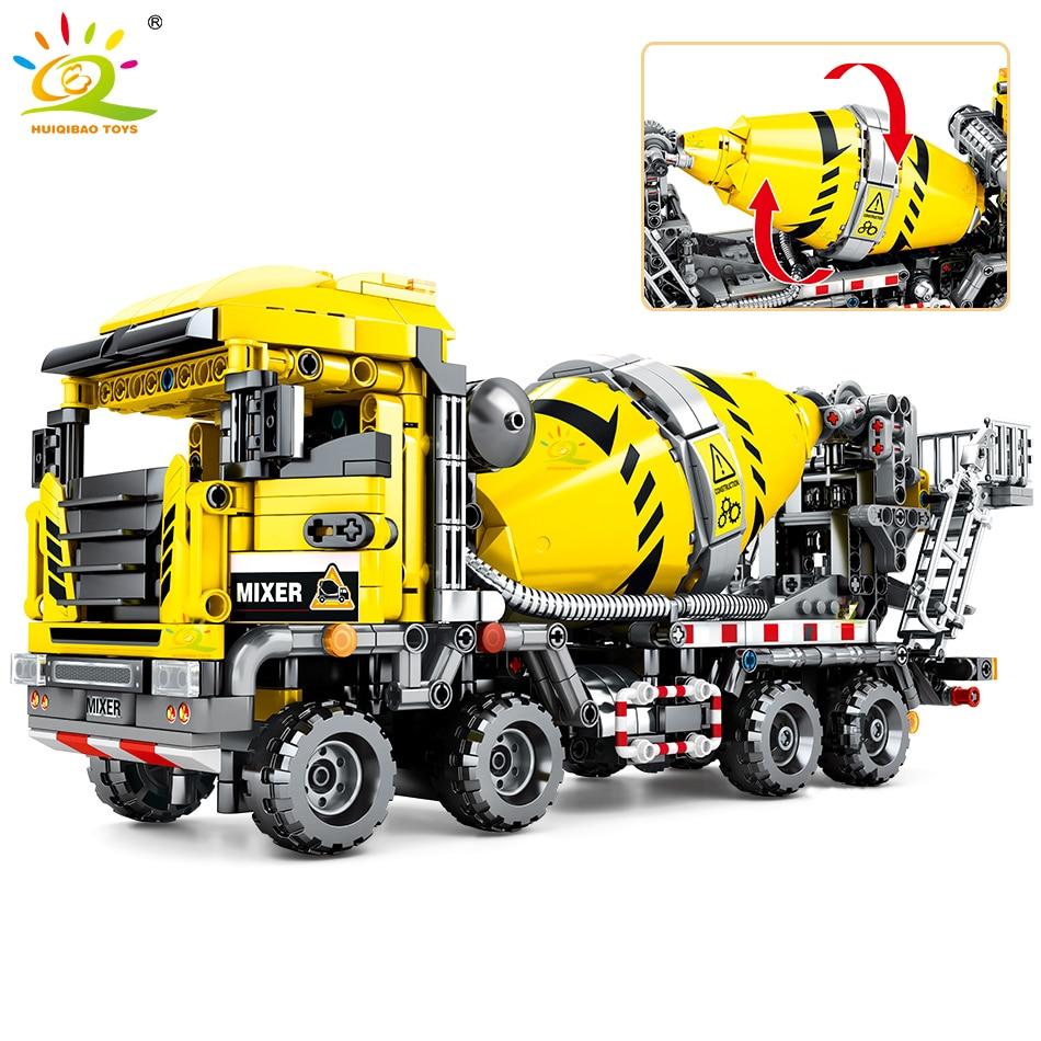 HUIQIBAO 1143Pcs City Agitating Lorry Toys Building Blocks Technical Construction Engineering Mixer Truck Car Figures Bricks Kid
