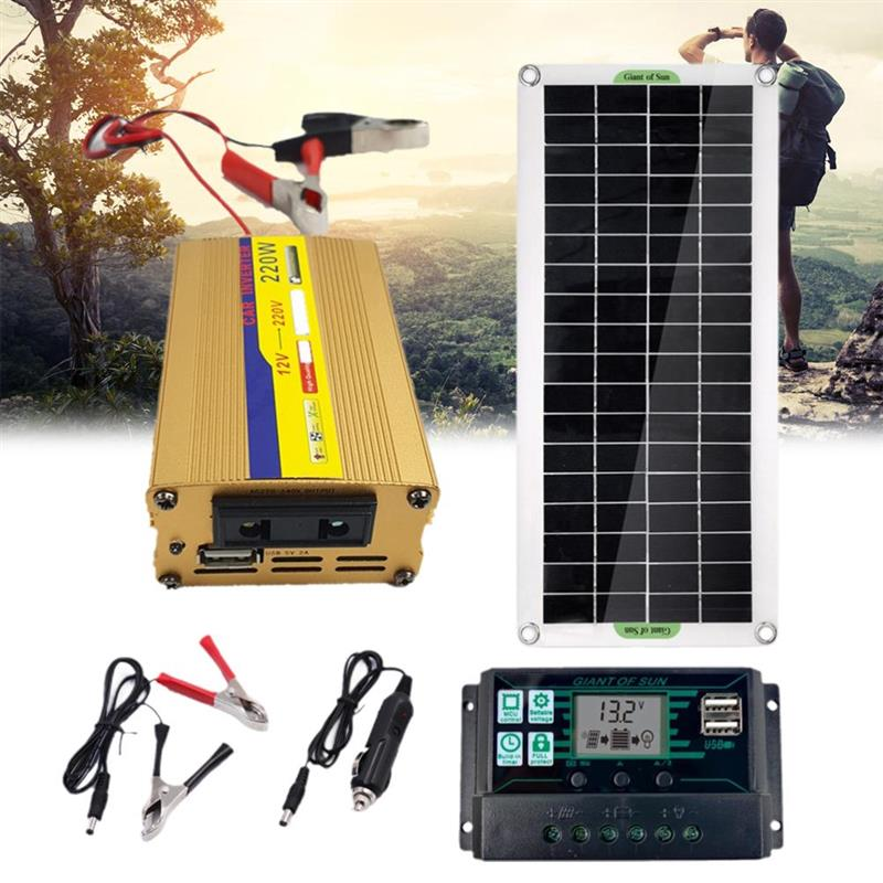 Solar Power System Kit 10/40/60A Controller Solar Panel Battery Charger 220W Inverter USB Kits Complete Home Grid Camping Power