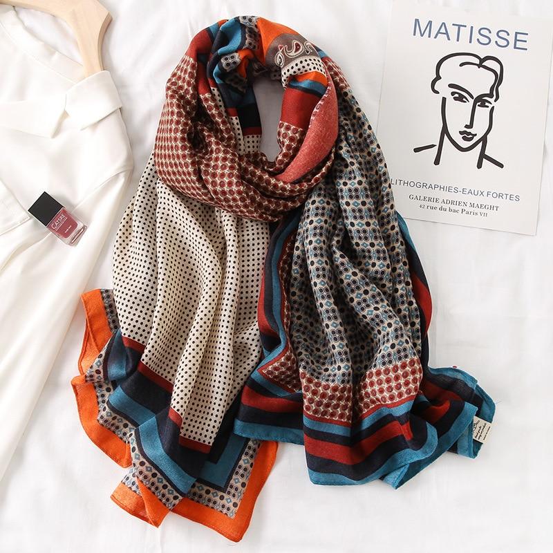 Markenfrauenschal, Baumwolle mit Modedruck, warme Winterschals, Hijabs, Lady Pashmina Foulard, Bandana-Plaid