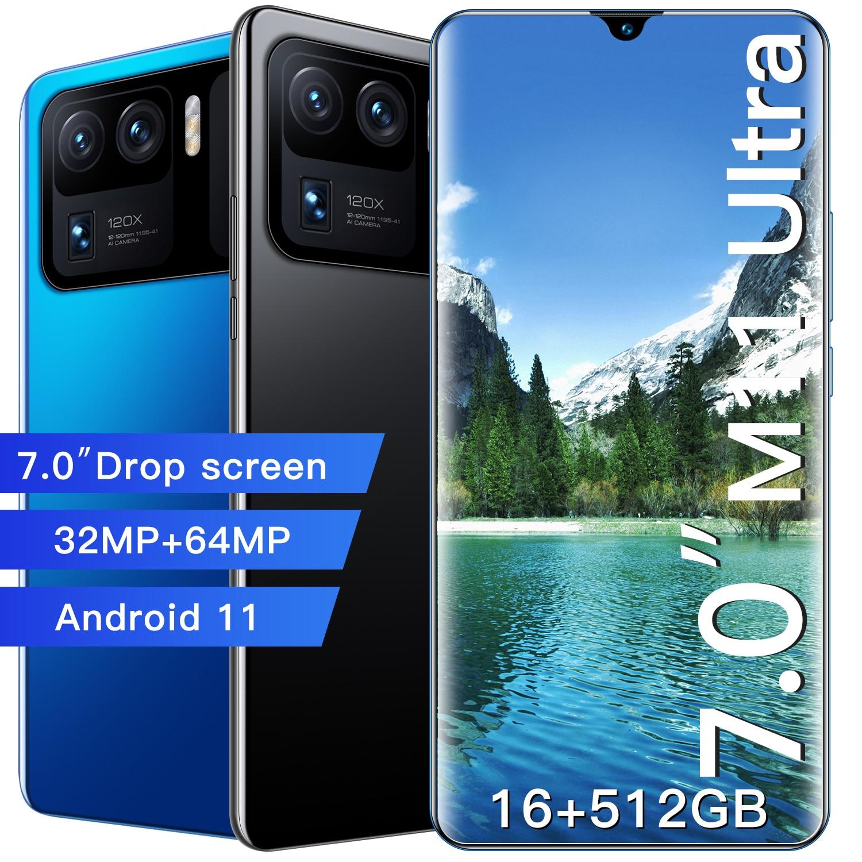 M11 Ultra 7.0 Inch 12GB + 512GB 5G شبكة معرف بصمة 7200mAh هاتف ذكي 32 + 64 ميجابكسل المزدوج سيم + TF الهواتف المحمولة