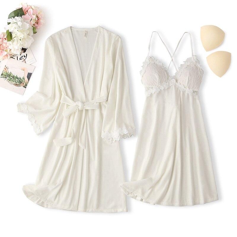 الخريف المخملية Twinset رداء مجموعة ملابس خاصة مثير المرقعة الدانتيل النساء ثوب النوم فضفاضة عادية كيمونو Bathrobe ثوب المنزل ثوب دعوى
