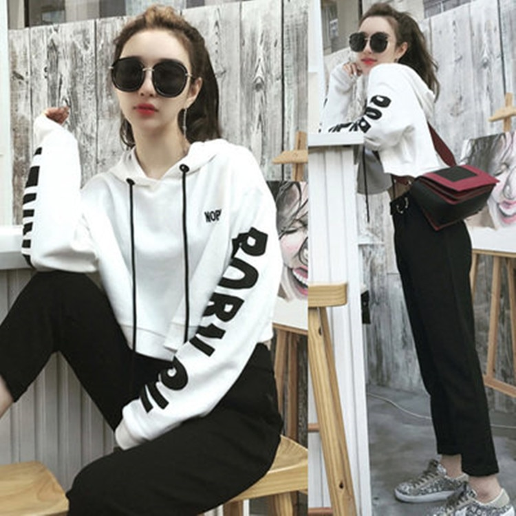 Spring Tracksuit 2pcs Women Set Letter Hoodies Crop Tops +Pencil Pants Casual 2 Pieces Sets Womens Streetwear Suits Female women summer two pieces sets dress casual solid backless crop tops skirts suits set female night party club dresses tracksuit