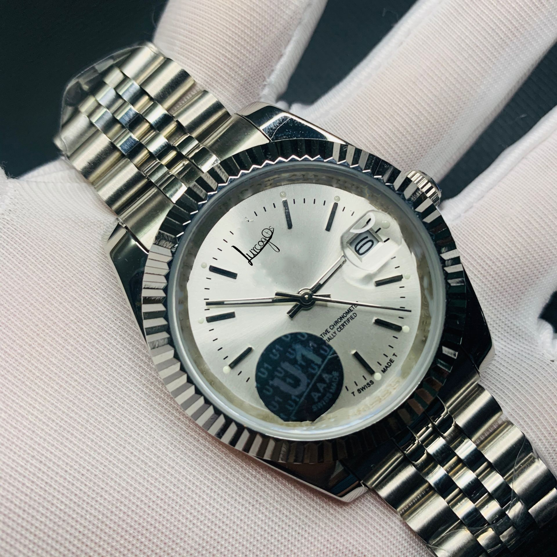 top U1 Factory silver Luxury Brand Diamond watch Men automatic sweeping movement luxury Watches day-date