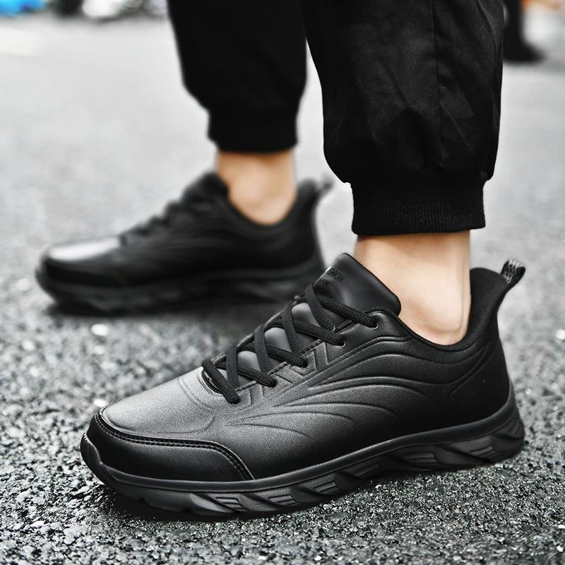 Кроссовки мужские кожаные, легкие прогулочные кеды, повседневная обувь, резина, водонепроницаемая обувь, Зимние удобные