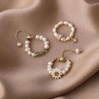 irregular pearl flower adjustable rings for women 2021 new design sweet bijoux