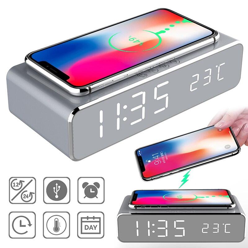 جديد LED ساعة تنبيه كهربائي مع شاحن الهاتف اللاسلكي سطح المكتب ميزان الحرارة الرقمي على مدار الساعة HD ساعة مرآة مع ذاكرة الوقت