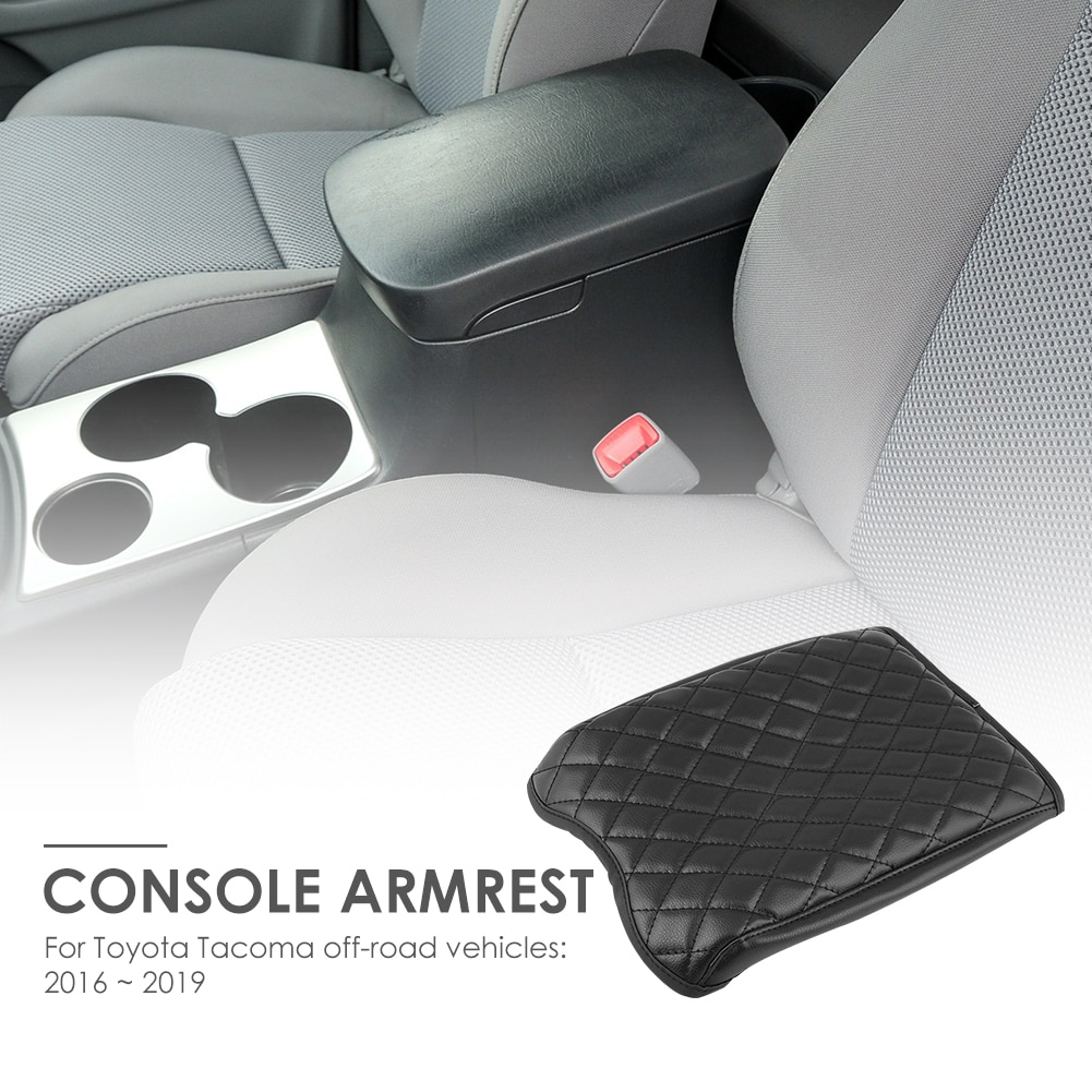 Funda de cojín de reposabrazos para consola de cuero sintético Interior de coche para Toyota Tacoma 16-19 estilo de coche