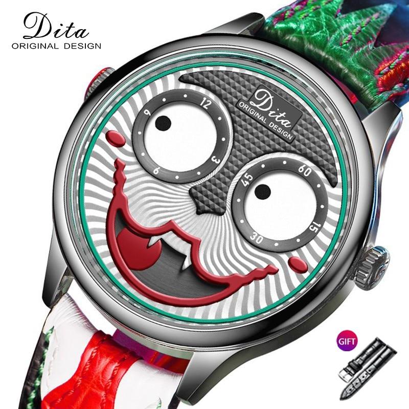 ساعة جديدة الرجال التصميم الإبداعي الطلب الكبير الجوكر ساعات يد كوارتز جلدية مقاوم للماء الرياضة كرونوغراف Relogio Masculino