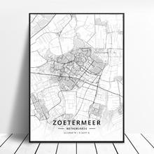 Zoetermeer Tollebeek   Affiche de carte Venlo Enschede Nijmegen tilbourg Deventer pays-uni