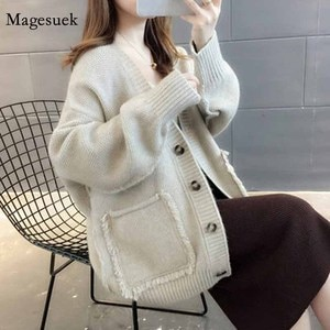 V Neck 2020 Single Breasted Knitted Christmas Sweater Casual Plus Size Woman Sweaters Women Winter Green Cardigan Sweaters 11728