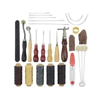 18pcs leather working tools leather craft tool kit for stitching carving working sewing saddle groover kit sewing accessories
