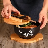 container bowl chopstick with and kitchen tableware japanese soup noodle rice style spoon bowl salad ceramic lid dinnerware food