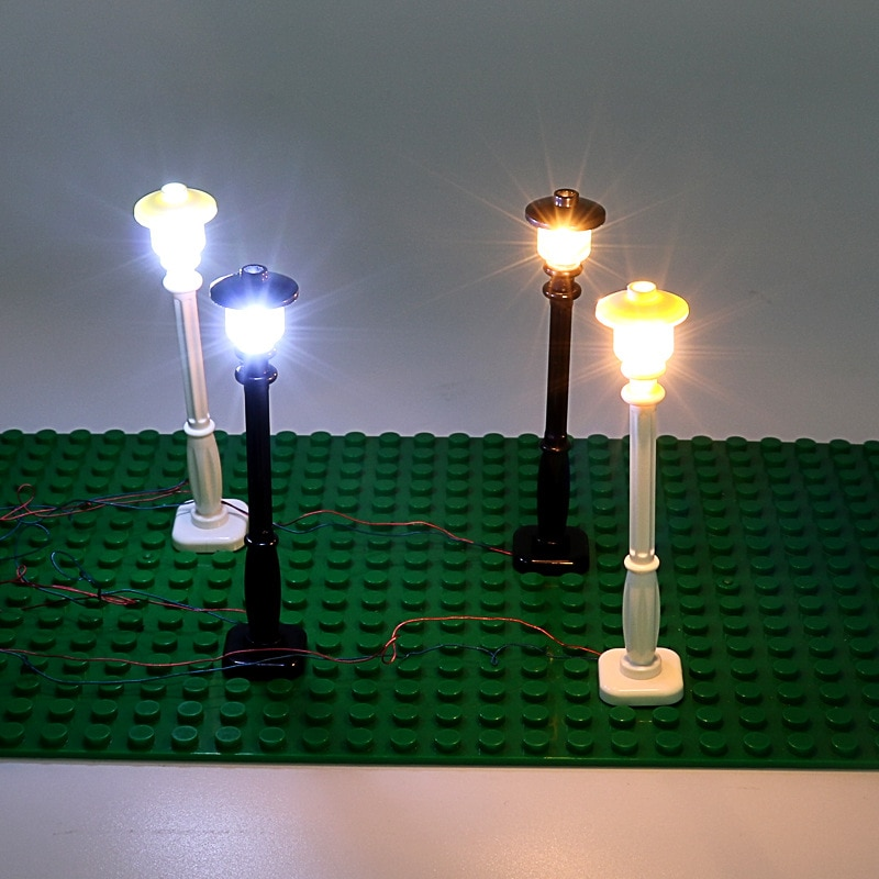 Mini accesorios de bloques de construcción juguetes de decoración de paisaje USB farola de vista de calle poste de iluminación luminosa 40cm longitud de línea