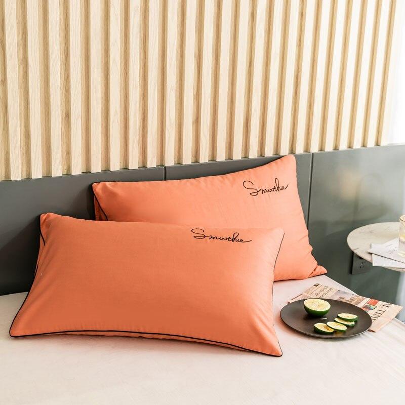2 قطعة البرتقال الأزياء المواجهة الساتان وسادة غطاء لحاف الملك السرير الصيف مريح بلون رخيصة أكياسها الاطفال سفينة حر
