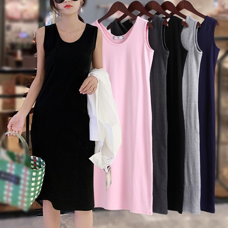Mschf Spaghetti Straps Outerwear Hong Kong Style Cotton Sleeveless Tank Top Long Dress Mid-Length In