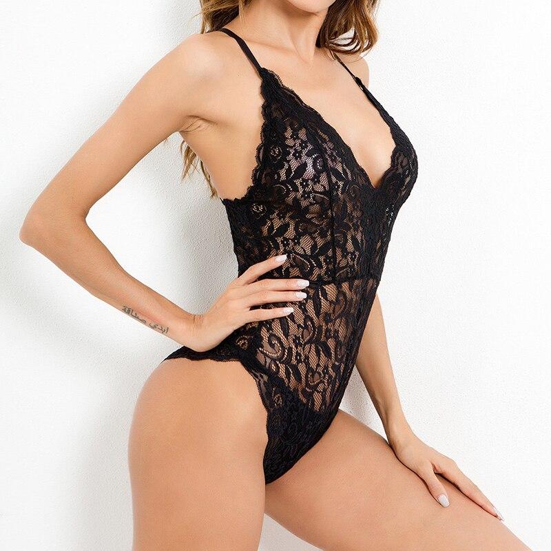 Camisa De encaje con escote en V profundo para Mujer, Body Sexy con Push-Up, Bodycon De malla, Monos De Verano, ropa De neón, Mono L
