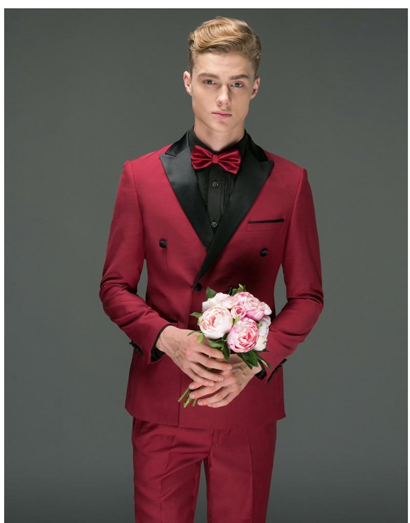 Handsome Double-Breasted Groomsmen Peak Lapel Groom Tuxedos  Men Suits Wedding/Prom/Dinner Best Blazer(Jacket+Pants+Tie) 032
