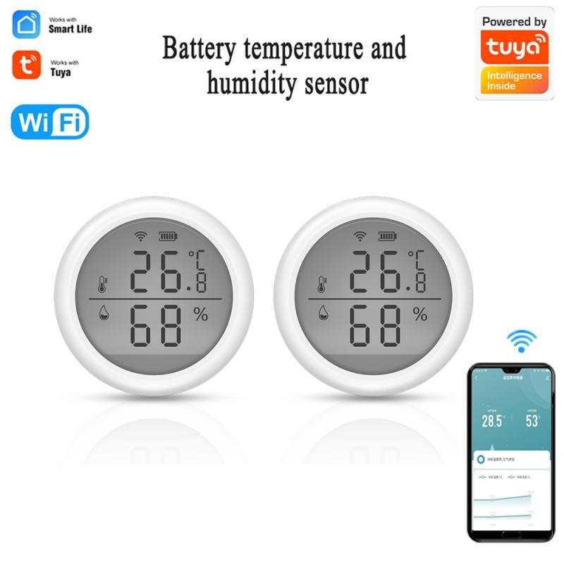 Tuya واي فاي استشعار درجة الحرارة والرطوبة الرطوبة في الأماكن المغلقة ميزان الحرارة مع شاشة LCD الذكية الحياة إنذار دفع اليكسا جوجل المنزل