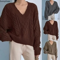 kili womens fashion solid color linen pattern v neck long sleeve pullover knit sweater one size