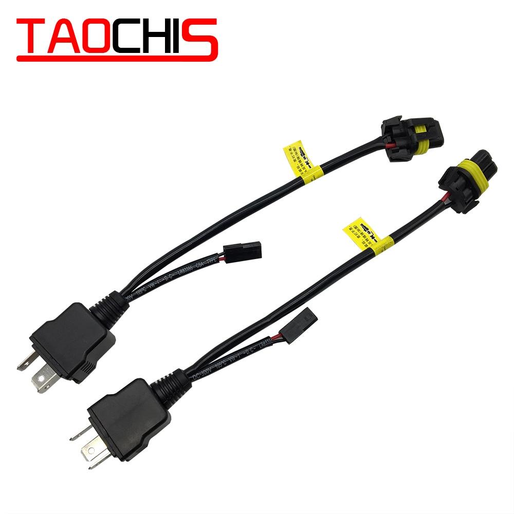TAOCHIS Bi Xenon 35W 55W H4 12V 2 uds. Arnés de cables para H4 9003 Hi/Lo bi-xenon HID bombillas controladores de cableado Play and plug