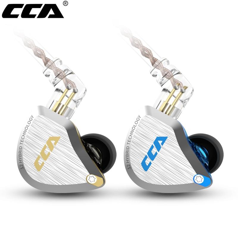 CCA C12 المعادن سماعة 5BA + 1DD الهجين التكنولوجيا 12 وحدات HIFI باس سماعة أذن سلكية مع ميكروفون إلغاء الضوضاء سدادات الأذن
