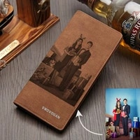 young people personalized bi fold for handmade christmas gifts men s custom picture carving purse custom wallet for men
