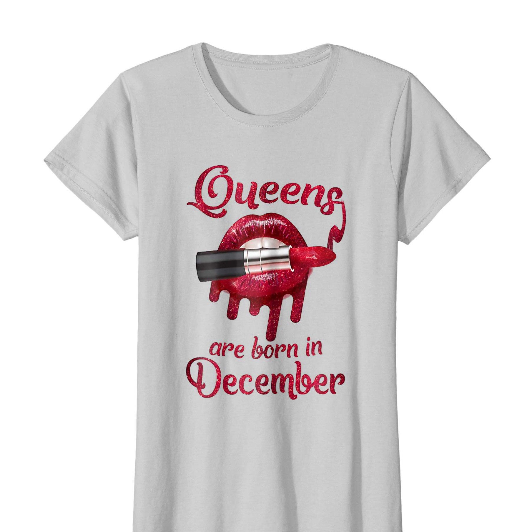 Camiseta de mujer reinas nacen en diciembre pintalabios labios rojos camisa divertida suelta manga corta estilo lindo