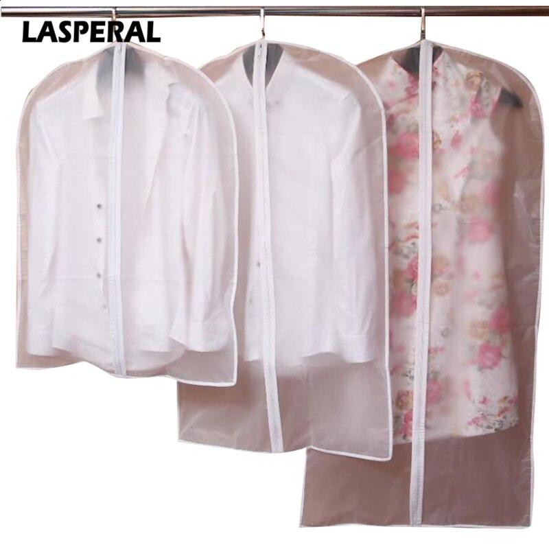 Junejour guarda-roupa sacos de armazenamento transparente vestido roupas casaco vestuário terno capa caso à prova de poeira capas casa zíper