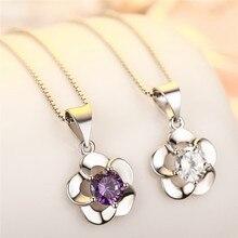 Mode Zircon violet camélia pendentif collier femmes bijoux mode argent 925 dame clavicule chaîne collier femmes accessoires
