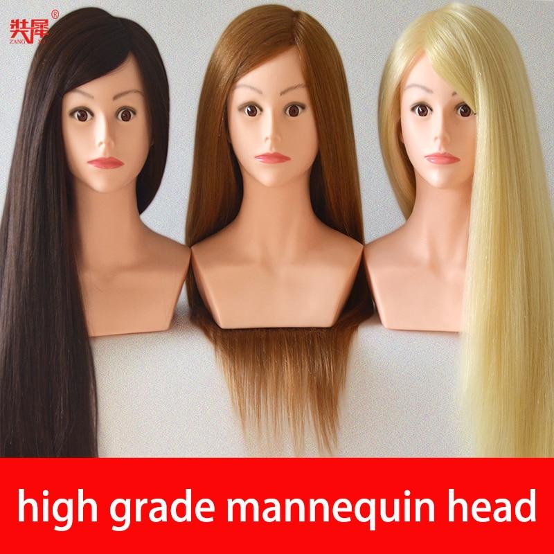 Maniquí de cabeza de peluquería 80% Real de alto grado de 24 pulgadas, bonitas muñecas, pelo rubio, cabeza de entrenamiento con cabeza de Maniquí de hombro con pelo